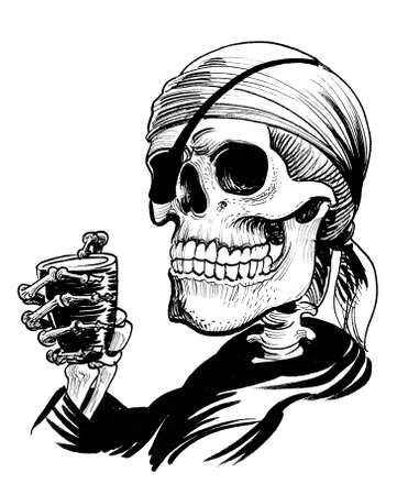 Dead pirate drinking rum. Ink black and white drawing