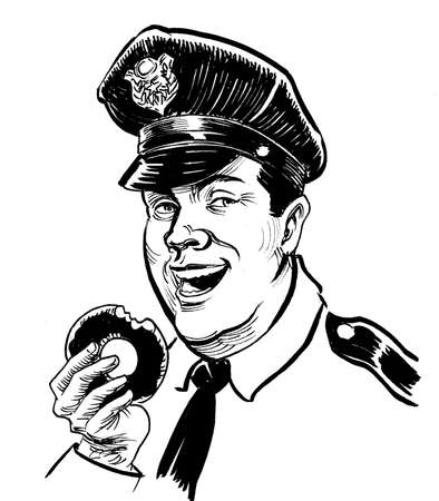 Happy American policeman eating doughnut. Ink black and white drawing