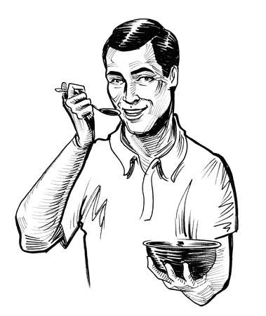 Happy man eating cereal. Ink black and white drawing