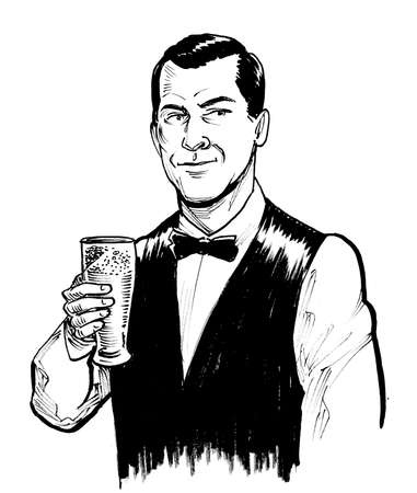 Happy man drinking a glass of beer. Ink black and white drawing