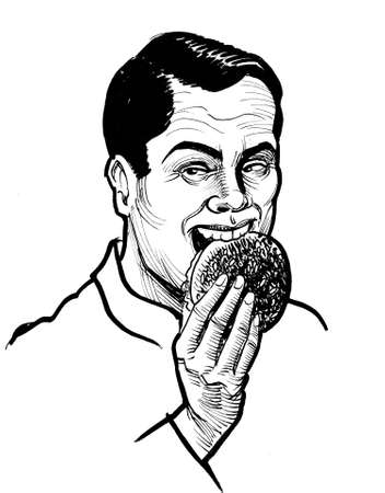 Happy man eating a burger. Ink black and white drawing