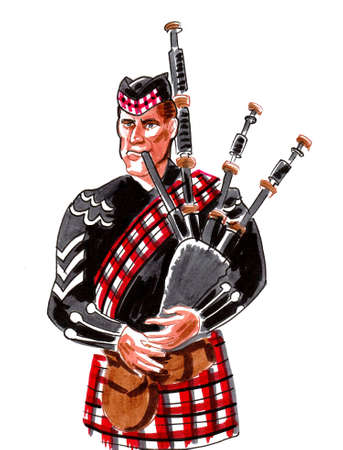 Scottish bagpiper. Ink and watercolor drawing