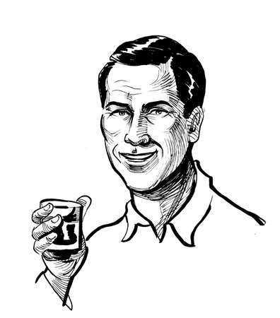 Handsome man drinking a glass of whiskey. Ink black and white drawing