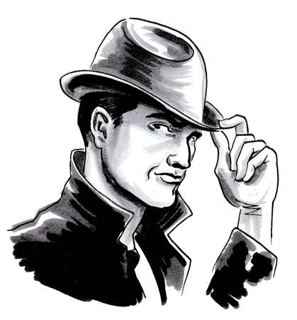 Handsome man in hat. Ink black and white drawing Banque d'images