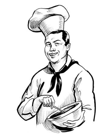 Happy smiling chef mixing cream. Ink black and white drawing