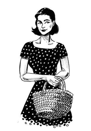 Pretty woman with a shopping basket. ink black and white drawing Banque d'images