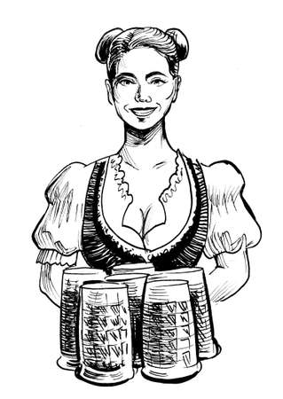Pretty Blonde German waitress with beer mugs. Ink black and white drawing Stock Photo