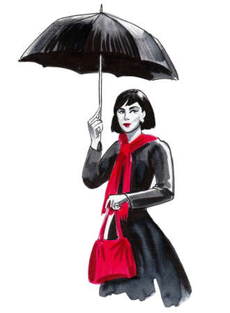 Pretty woman under umbrella. Ink and watercolor drawing