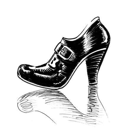Vintage female shoe. Ink black and white drawing Banque d'images