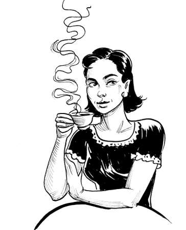 Pretty lady drinking coffee. Ink black and white drawing
