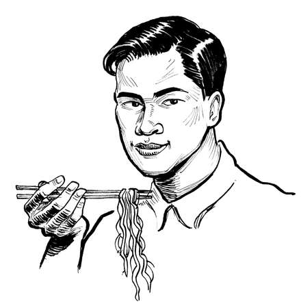 Asian man eating noodles with a chopsticks. Ink black and white drawing Stockfoto
