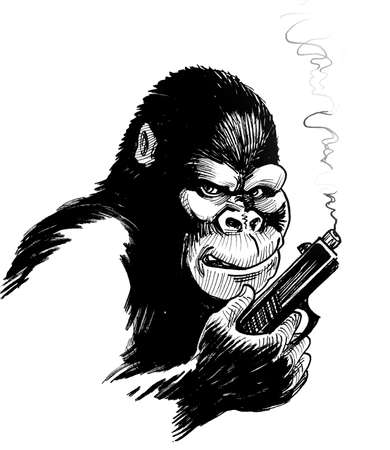 Mad gorilla with a smoking gun. Ink black and white drawing Stockfoto