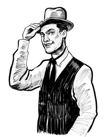 Happy smiling man in hat. Ink black and white drawing Stockfoto