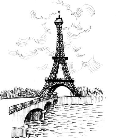 Eiffel tower in Paris. Ink black and white drawing