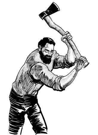 Logger cutting wood with an axe. Ink black and white drawing Stockfoto