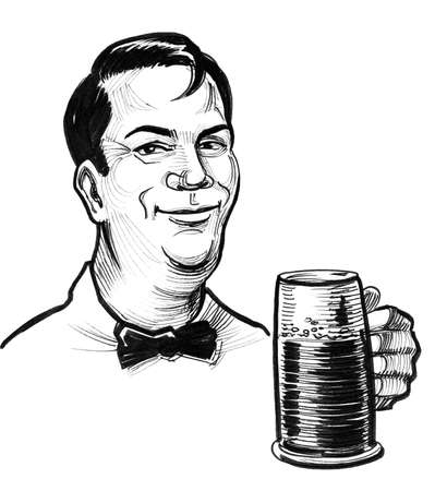 Happy man with a mug of beer. Ink black and white drawing