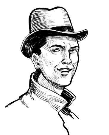 Smiling man in hat. Ink black and white drawing