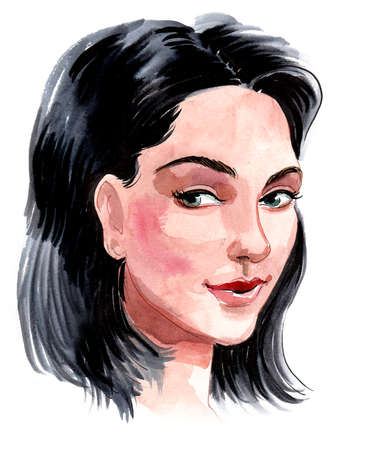 Pretty brunette woman. Ink and watercolor drawing Stockfoto