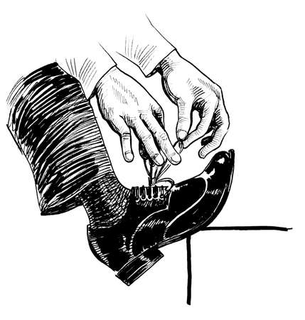 Hands tying laces on a shoe. Ink black and white drawing
