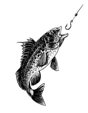 Fish biting a fishing hook. Ink black and white drawing Stockfoto