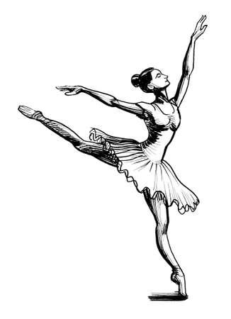 Beautiful dancing ballerina. Ink black and white drawing