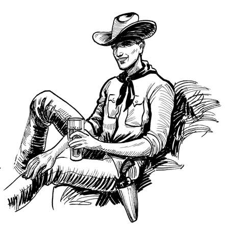 Cowboy with a glass of beer. Ink black and white drawing