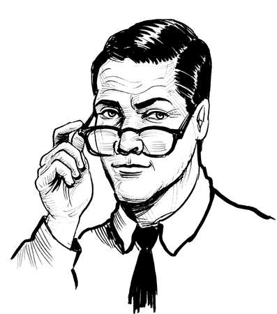 Businessman in glasses. Ink black and white drawing Stockfoto