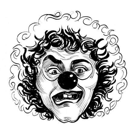 Mad looking clown face. Ink black and white drawing Stockfoto