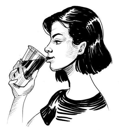 Pretty girl drinking beverage from cup. Ink black and white drawing
