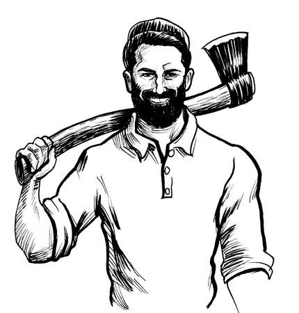 Canadian logger with axe. Ink black and white drawing