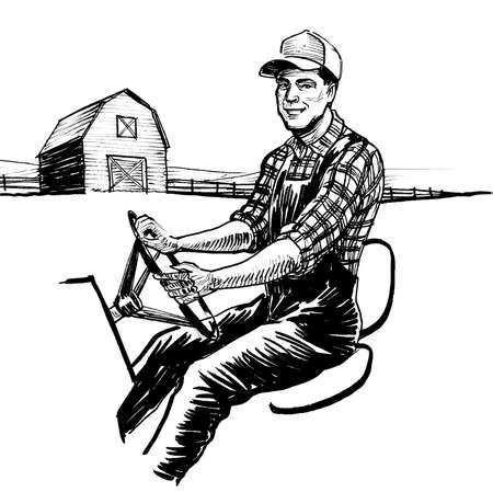 Farmer driving tractor. Ink black and white drawing