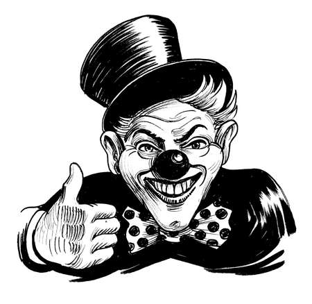 Happy clown showing big thumb. Ink black and white drawing