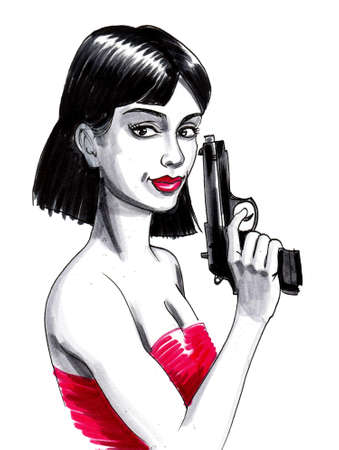Pretty lady with a gun. Ink drawing Stockfoto