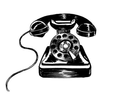 Retro analog telephone. Ink black and white drawing