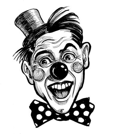 Laughing clown face. Ink black and white drawing