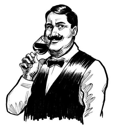 Gentleman with a glass of wine. Ink black and white drawing