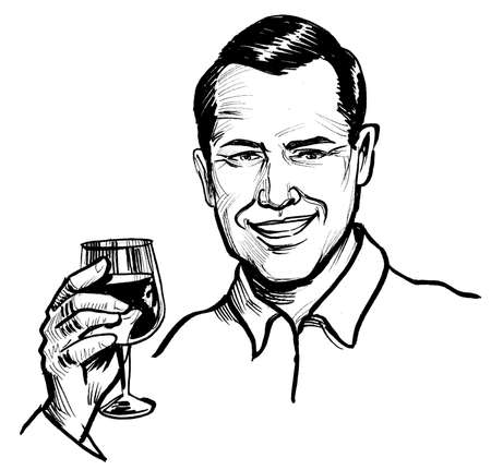 Handsome smiling man with a glass of red wine. Ink black and white drawing Stockfoto