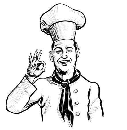 Happy smiling restaurant chef showing o.k. sign. Ink black and white drawing