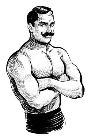 Vintage wrestler. Ink black and white drawing Stockfoto