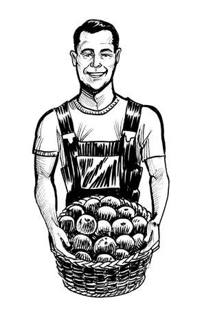 Farmer with a basket full of apples. Ink black and white drawing