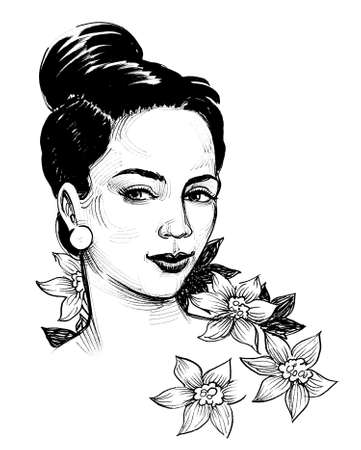 Pretty woman and flowers. Ink black and white drawing