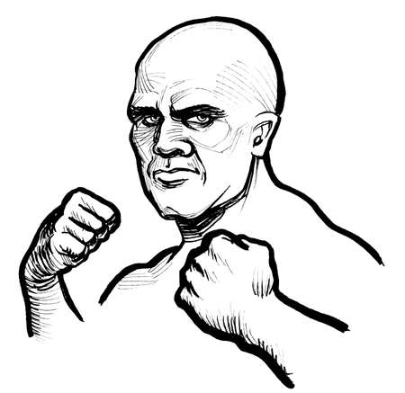 Bald strong fighter. Ink black and white drawing