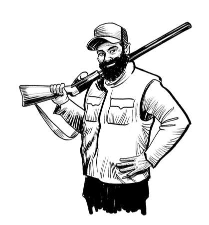 Hunting man with a rifle. Ink black and white drawing