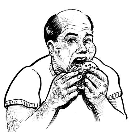 Fat bald man eating burger. Ink black and white drawing