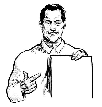 Man pointing at blank sheet of paper. Ink black and white drawing Stockfoto