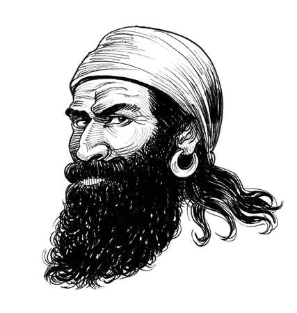 Bearded pirate character in bandana. Ink black and white drawing