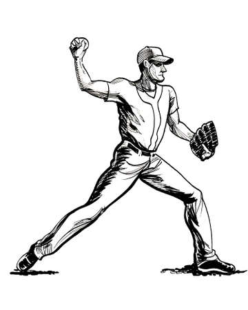 Baseball player tossing a ball. Ink black and white drawing