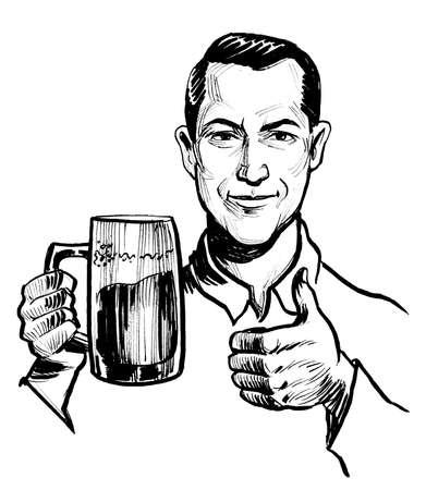 Man with a beer mug showing big thumb. Ink black and white drawing Stockfoto