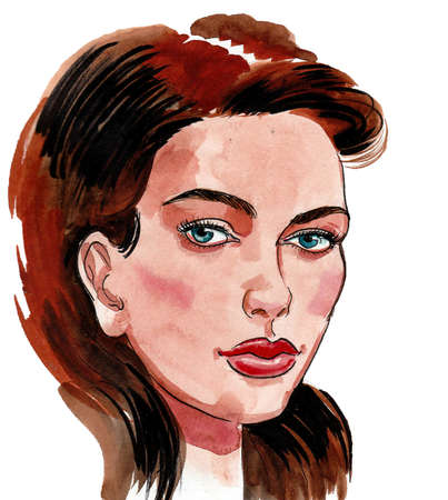 Beautiful woman with brown hair. Ink and watercolor drawing Stockfoto