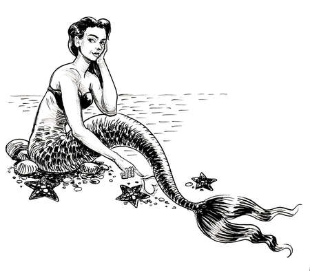 Beautiful sitting mermaid with starfishes. Ink black and white drawing